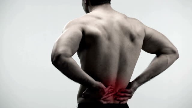 pain in man back - physical therapy stock videos and b-roll footage