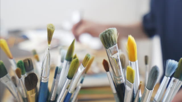 paint brushes. - painter artist stock videos and b-roll footage
