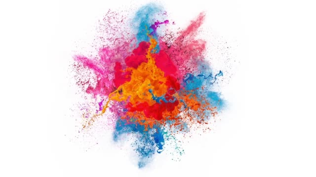 paint explosion - colori video stock e b–roll