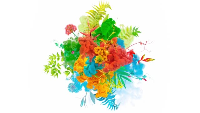paint explosion with plants, flowers and birds - surreale video stock e b–roll