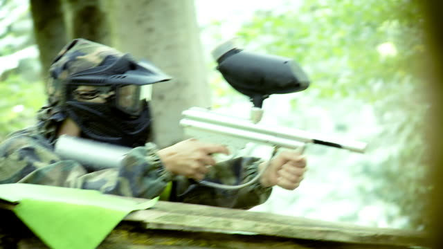 Paintball Player Protecting The Area