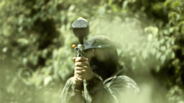 Paintball Player Shooting (Super Slow Motion)