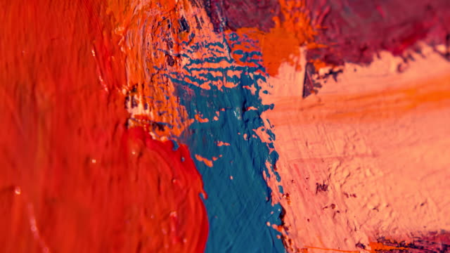 paintbrush with oil paint on classical canvas - oil paint stock videos and b-roll footage