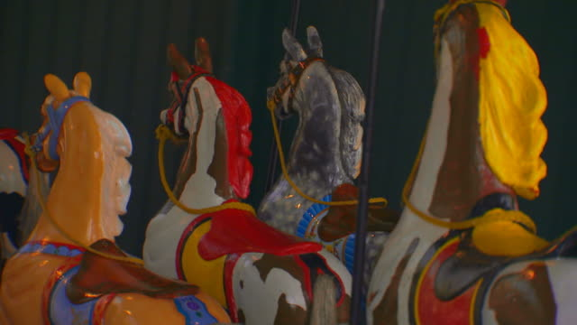 painted carousel horses  - medium group of objects stock videos & royalty-free footage