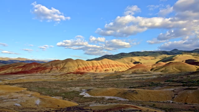 Painted hills and clouds John Day Fossil Beds National Monument National Park 3
