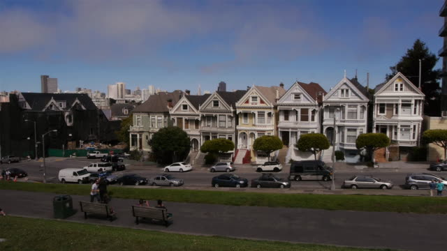 ws- painted ladies in san francisco - victorian stock videos & royalty-free footage