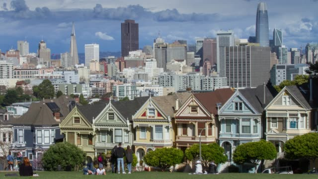 painted ladies san francisco. - townhouse stock videos & royalty-free footage