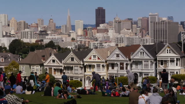 vidéos et rushes de ws- painted ladies with san francisco skyline in background. - transamerica pyramid san francisco