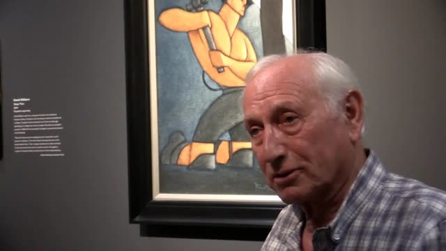 painter and former miner bob olley talks at the opening of the country's first gallery dedicated to mining art in county durham - county durham stock videos & royalty-free footage