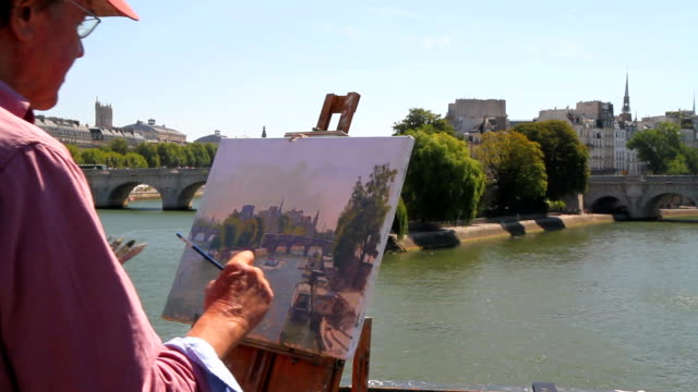 painter in paris - seine river stock videos and b-roll footage