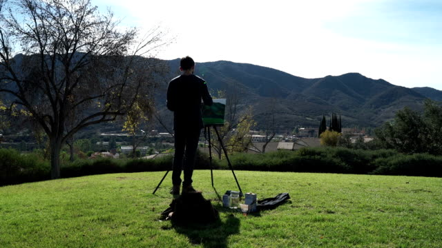 painter on a hill - easel stock videos and b-roll footage