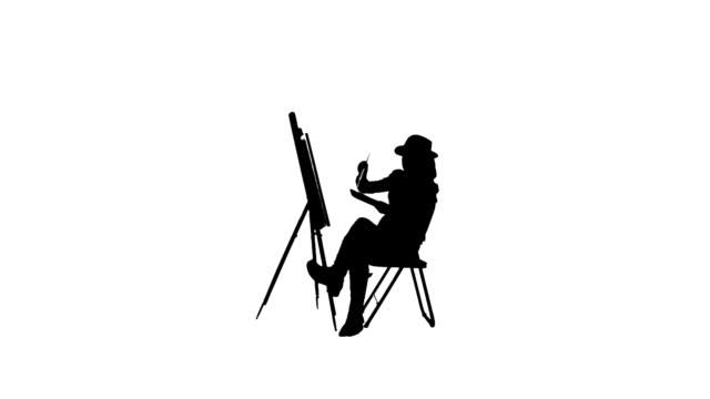 vídeos y material grabado en eventos de stock de pintor silueta - silueta