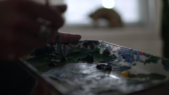 ecu slo mo. painter stirs brush in color palette paint tray. - paint brush stock videos and b-roll footage