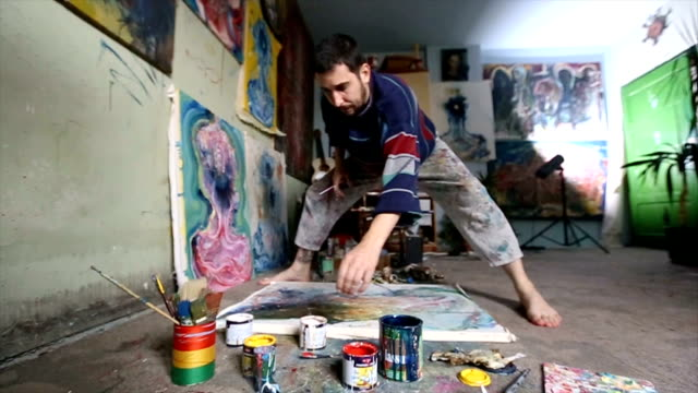 painter working on painting in studio - atelier tent stock videos and b-roll footage