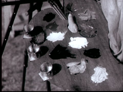 vídeos de stock, filmes e b-roll de 1938 cu painter's palette changing from black & white to color/ audio - painter artist
