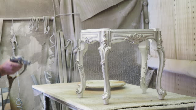 painting a furniture with spray paint - spray painting stock videos & royalty-free footage