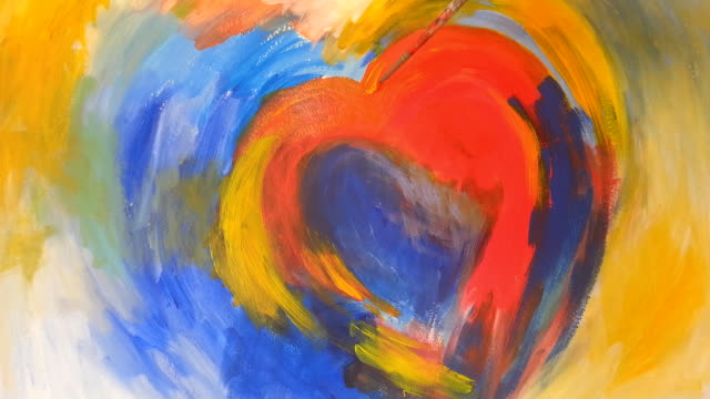 painting a heart with acrylic colors on paper - painted image stock videos and b-roll footage