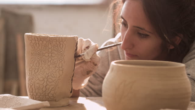 painting and ceramic - pottery stock videos & royalty-free footage