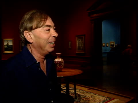 Andrew Lloyd Webber collection exhibited Andrew Lloyd Webber interviewed SOT People looking at painting 'The Village Wedding' by Luke Fildes Detail...