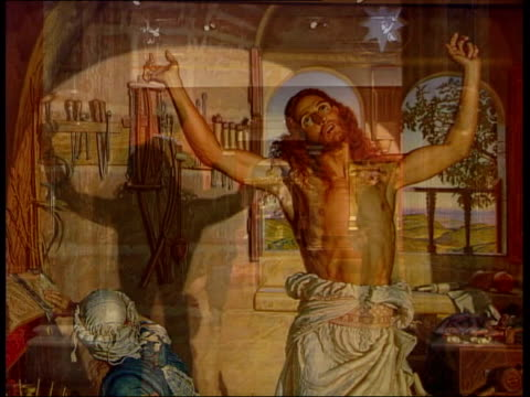 andrew lloyd webber collection exhibited people along through gallery space painting of christ by william holman hunt on gallery wall painting by... - andrew lloyd webber stock videos and b-roll footage