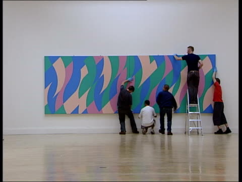 bridget riley retrospective details of riley colour 'wave' and 'stripe' paintings on gallery wall wavy painting as slow motion woman walks past... - pair stock videos & royalty-free footage