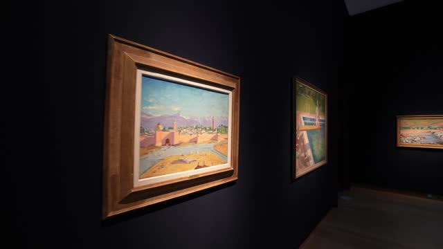 painting by sir winston churchill, painted in wwii, the 'tower of koutoubia mosque' being auctioned by angelina jolie and the viscountess castlerosse... - art and craft stock videos & royalty-free footage