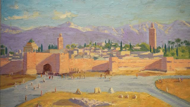 painting by sir winston churchill, painted in wwii, the 'tower of koutoubia mosque' being auctioned by angelina jolie on display at christie's during... - paintings stock videos & royalty-free footage