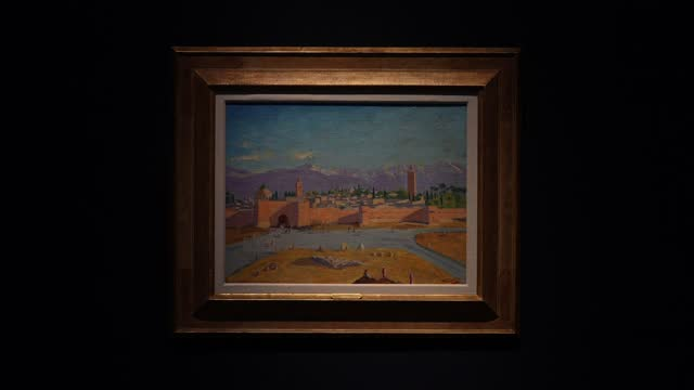 painting by sir winston churchill, painted in wwii, the 'tower of koutoubia mosque' being auctioned by angelina jolie on display at christie's during... - art and craft stock videos & royalty-free footage
