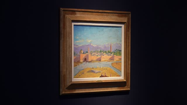 painting by sir winston churchill, painted in wwii, the 'tower of koutoubia mosque' being auctioned by angelina jolie on display at christie's during... - stream stock videos & royalty-free footage