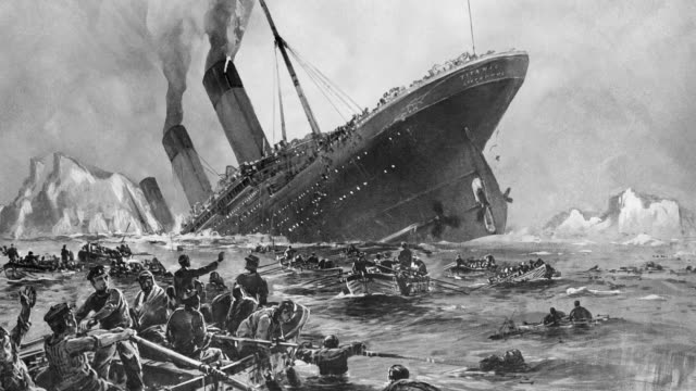 a painting by willy stoewer depicts the sinking of the rms titanic. - sinking stock videos & royalty-free footage