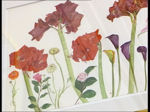 Elizabeth Blackadder made Dame of British Empire MUSIC OVERLAY Piano music Details from Blackadder flower watercolours on gallery wall Ends