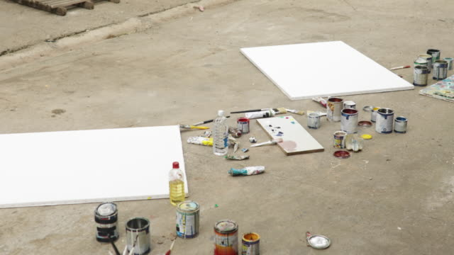 painting equipment is ready - canvas stock videos & royalty-free footage