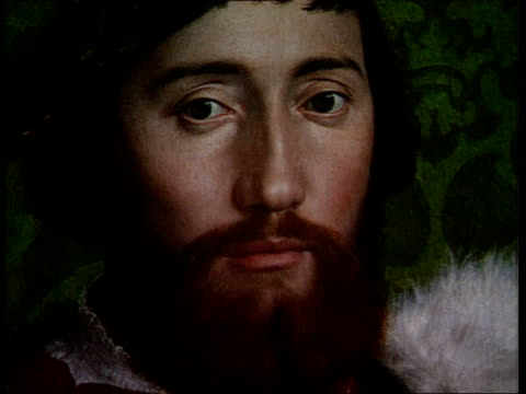holbein painting restoration detail from 'ambassadors' painting neil macgregor intvwd sot we have done nothing to damage this painting/ the fog has... - botschafter stock-videos und b-roll-filmmaterial