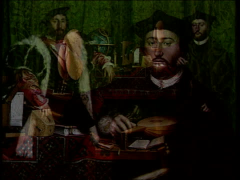 vídeos y material grabado en eventos de stock de holbein painting restoration england london national gallery overlay elizabethan music detail of holbein's painting the ambassadors people looking at... - isabelino