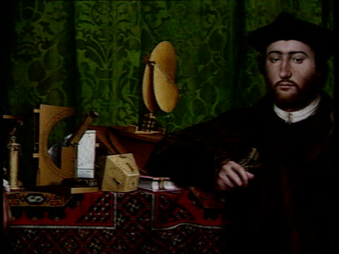 holbein painting restoration music overlay elizabethan music holbein painting detail from painting showing man in tunic woman looking at another... - tunic stock videos & royalty-free footage