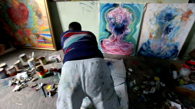 painting in progress in studio - atelier tent stock videos and b-roll footage