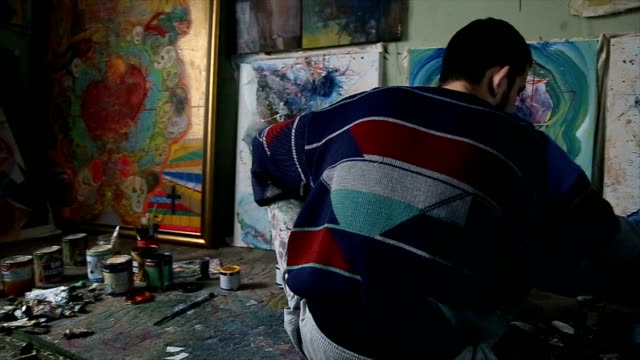 painting in studio - atelier tent stock videos and b-roll footage
