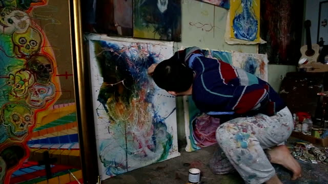 painting is his life - atelier tent stock videos and b-roll footage