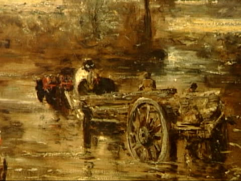 John Constable exhibition at Tate Britain MUSIC OVERLAY Classical Music ENGLAND London Tate Britain INT Close shot of Jonh Constable painting 'The...