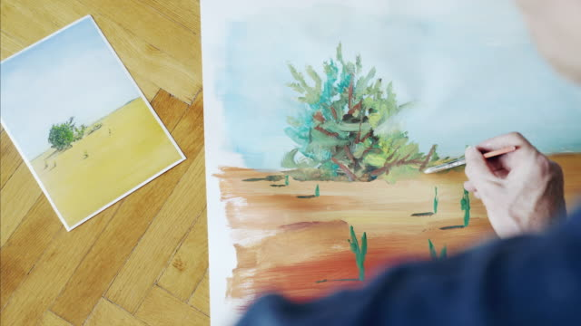 Painting landscape of desert.