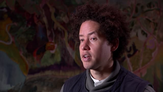 michael armitage studio gvs and interview england london int michael armitage interview continued sot re his paintings and his work for forthcoming... - jon snow journalist stock-videos und b-roll-filmmaterial