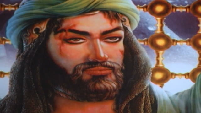 painting of ali ibn abi taleb . this type of painting is used in the ashura commemorations. - ashura muharram stock videos & royalty-free footage