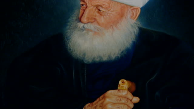 painting of druze sheikh jawad walieddine , regarded as the highest spiritual authority in the druze community. he wears a special turban called... - turban stock videos & royalty-free footage