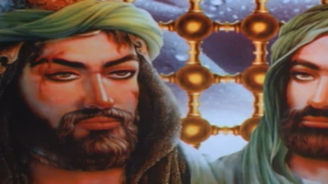 painting of hassan ibn ali and hussain ibn ali standing on either side of their father ali ibn abi taleb. this type of painting is used in the ashura... - ashura muharram stock videos & royalty-free footage