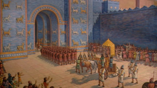 painting of king nebuchadnezzar entering babylon through the ishtar gate. nebuchadnezzar ii neo-babylonian empire c.605 bce. part of a display at the... - palace stock videos & royalty-free footage