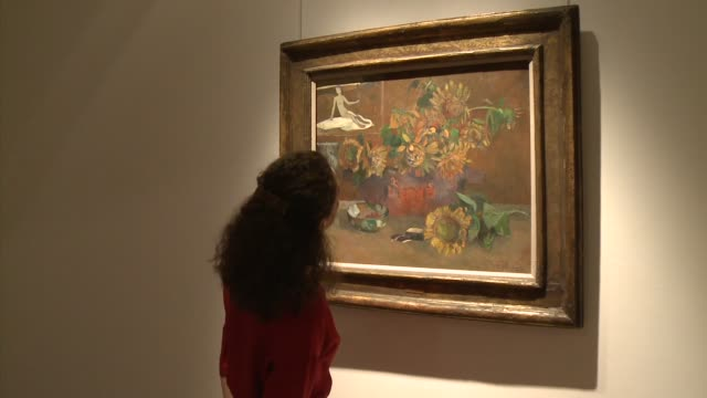 painting of sunflower by paul gauguin could fetch as much as 10 million pounds when it goes on sale in london in february. london, greater london,... - greater london stock videos & royalty-free footage
