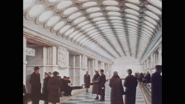 1959 a painting of the interior of ornate moscow subway system - モスクワ市点の映像素材/bロール