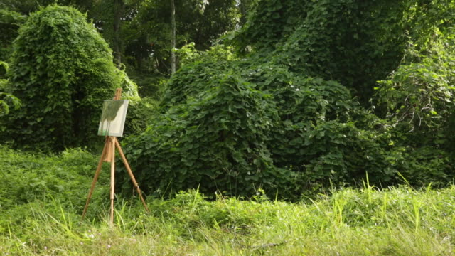 WS Painting on an easel set up in a forest.