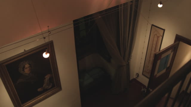 ws pan painting on wall and historic bedroom / bologna, italy - antique stock videos & royalty-free footage