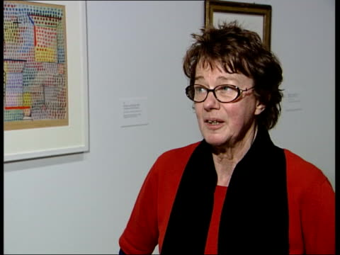 paul klee exhibition; bridget riley interview sot - he then slipped out of sight/ it might have been the advent of large painting from america which... - バンド アメリカ点の映像素材/bロール